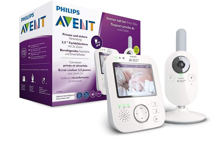 Philips AVENT SCD843/26 Video-Babyphone (3,5 Zoll Farbdisplay, Eco-Mode, Gegensprechfunktion, Nachtlicht, weiß-grau) [Saturn Card]