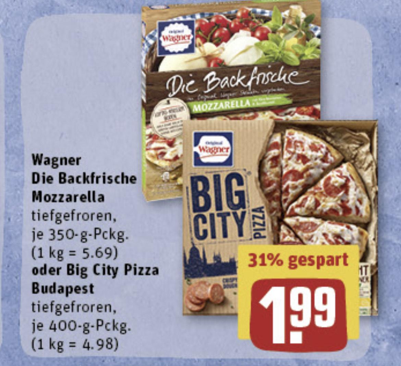 (REWE) 2x Wagner-Pizza mit WAGNER-Coupon für nur 2,98€ (statt 3,98€)