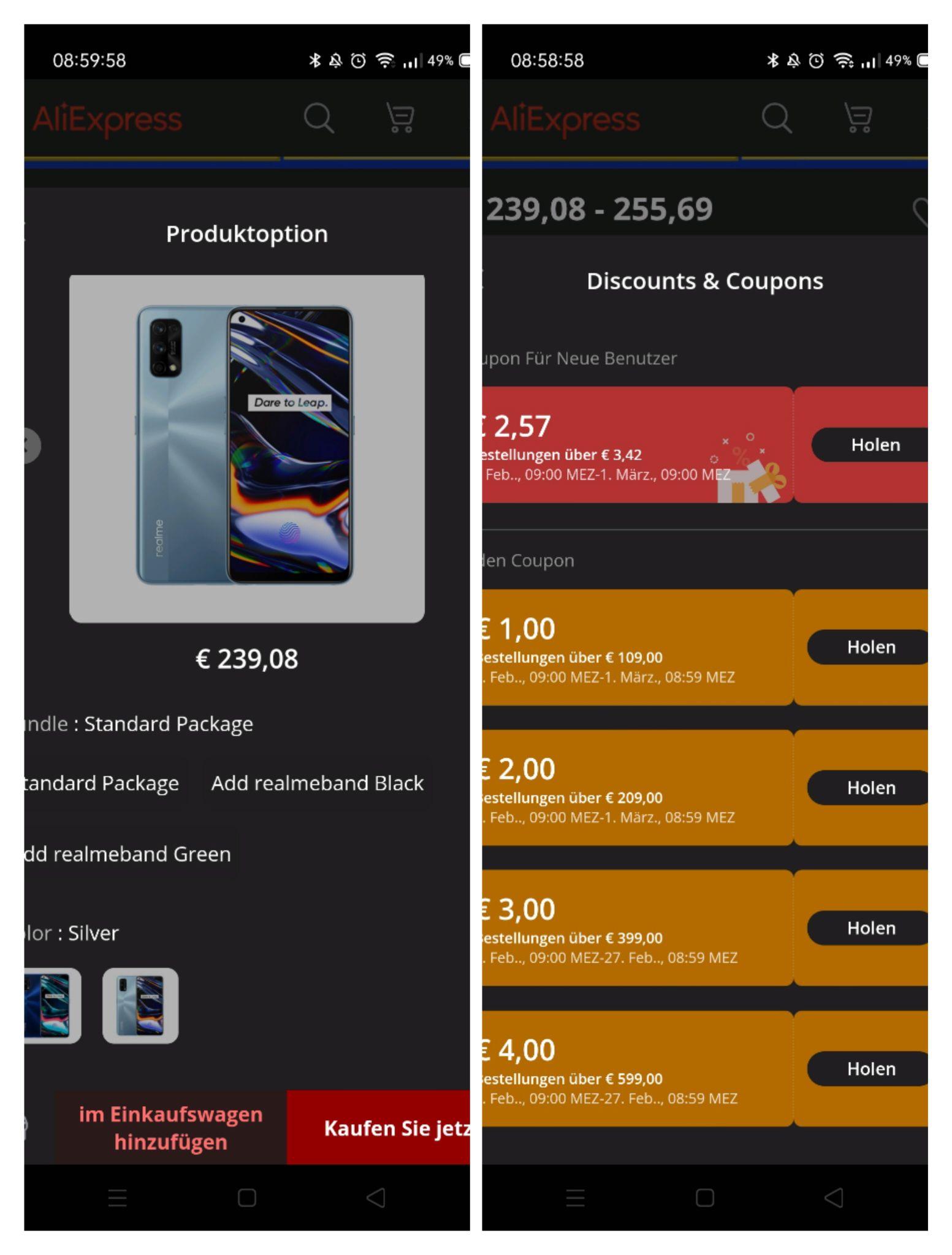 Realme 7 Pro 8/128GB AMOLED 65W-Laden, SD720G Zollfrei EU-Lager, Gutscheine einsammeln, Beschreibung lesen!