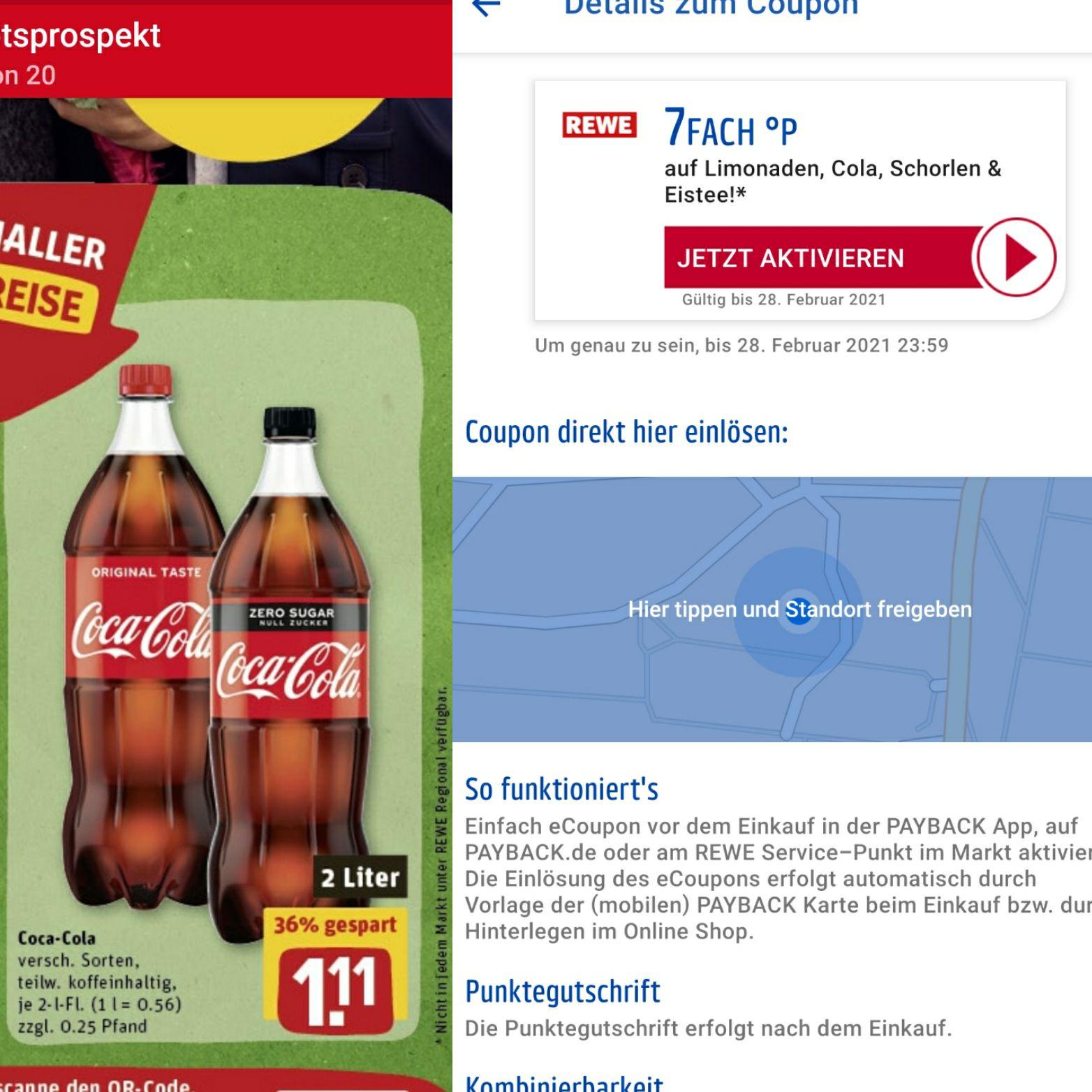 LOKAL REWE: 2 Liter Cola für 1,11 und 15- bis 7-fach Payback