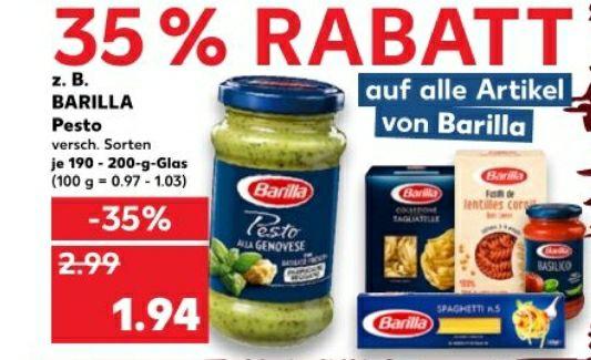 [KAUFLAND] Rabattaktionen - 35% auf alles von BARILLA, 33% auf Nestlé Cerealien und ital. Primitivo Weine, 30% auf Bärenmarke