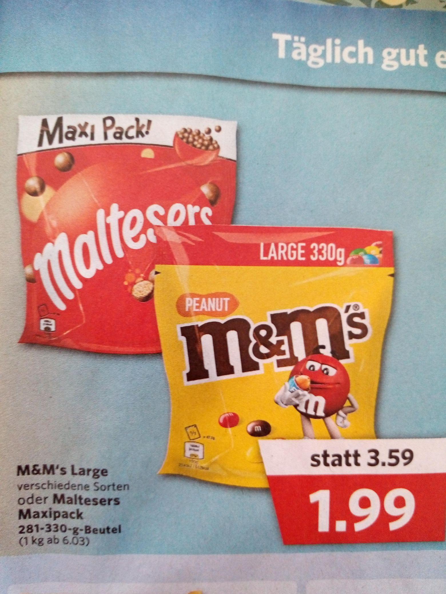 M&M's Large Ver Sorten und Maltesers Maxipack