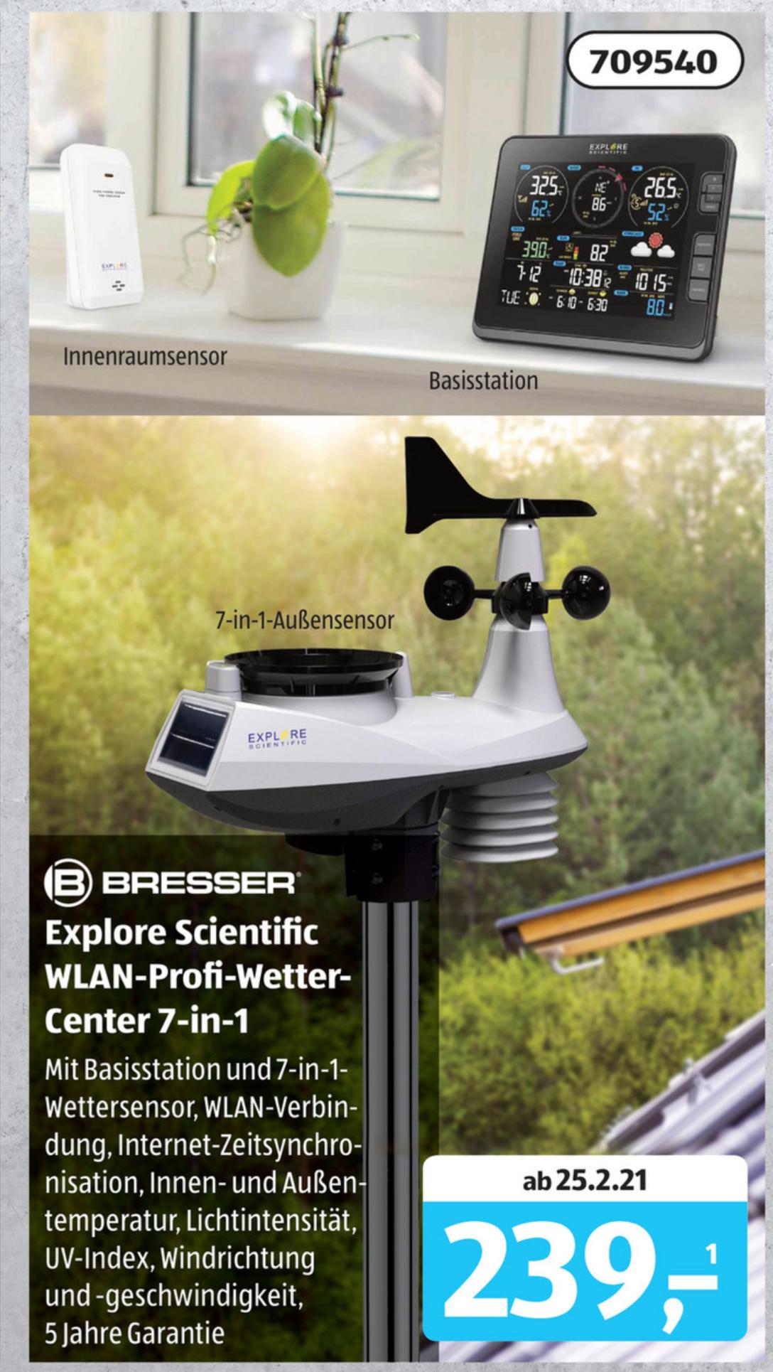 [Aldi-Süd/Online] Bresser EXPLORE SCIENTIFIC Profi W-LAN Wetter Center 7in1 WSX3001 ab 25.02.2021