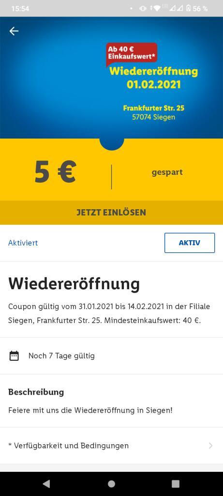 [Lokal & Lidl Plus App] Lidl Frankfurter Str. 25 in Siegen 5€ Rabatt ab 40€