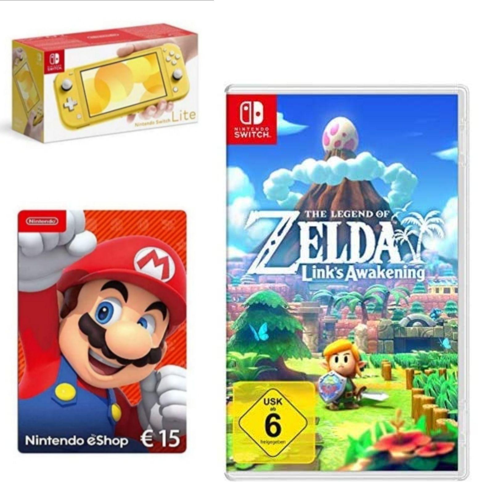 Nintendo Switch Lite, Standard, gelb + The Legend of Zelda: Link's Awakening + Plus 15€ Guthaben