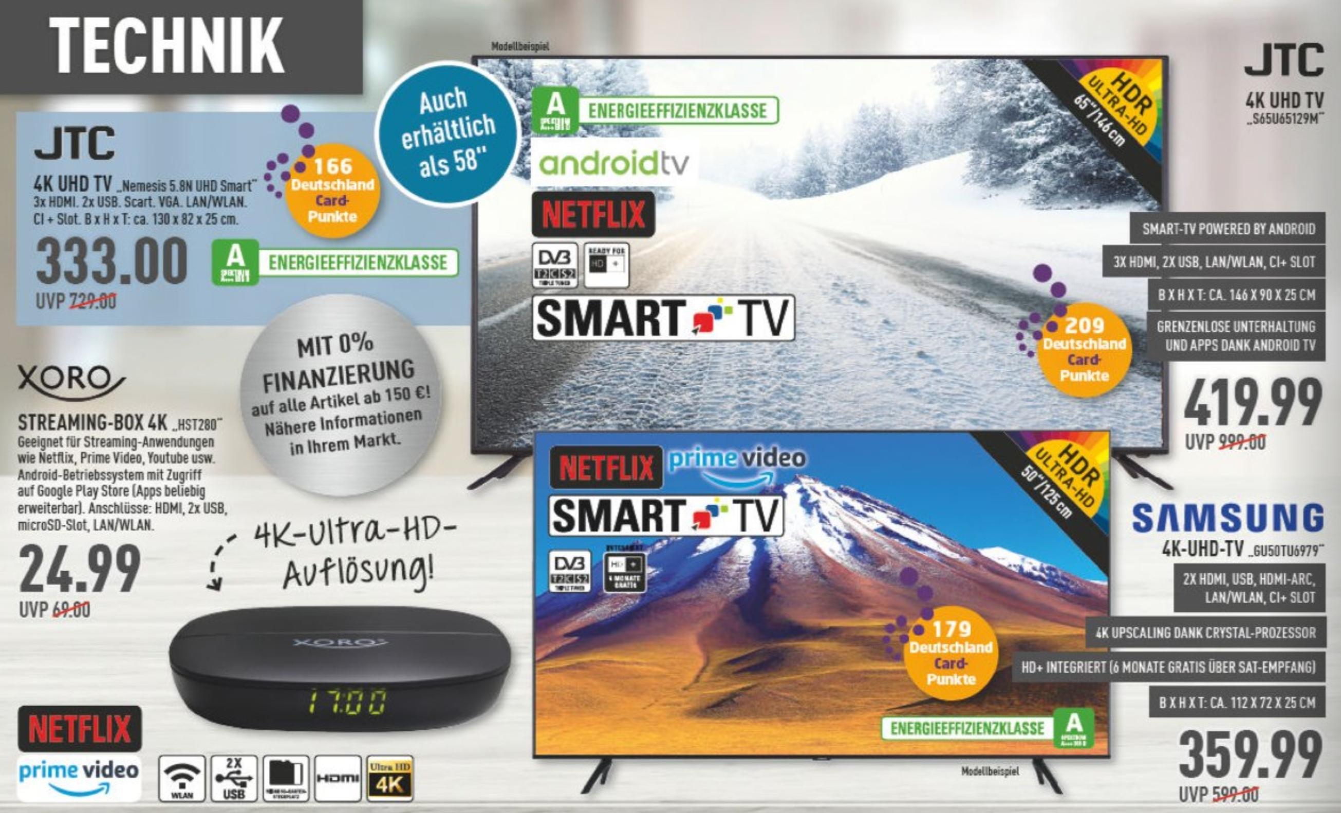 (Marktkauf Lokal z.B. Voerde und. andere ) JTC UHD Smart-TV 65 Zoll S65U65129M mit Android Betriebssystem