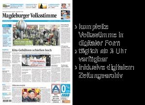 [Auch am 09.02.] Volkstimme E-Paper gratis - Alle Ausgaben (Magdeburg, Schönebeck,...)