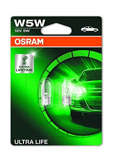 [Amazon Prime] Osram ULTRA LIFE W5W Halogen, Kennzeichen-Positionslicht, 2825ULT-02B, 12V PKW, Doppelblister (2 Stück)