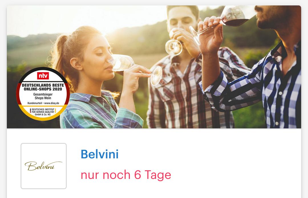 [Shoop | Belvini ] 8% Cashback + Bis zu 50% Rabatt + 10€ Shoop-Gutschein ab 69€ MBW