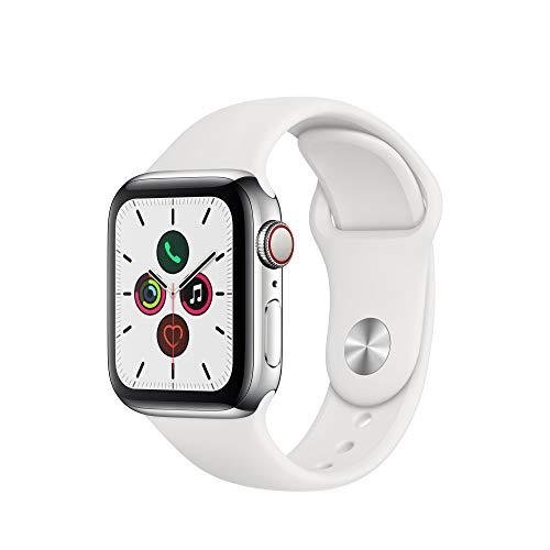 Apple Watch Series 5 (GPS + Cellular) 40mm Edelstahl silber mit Sportarmband weiß