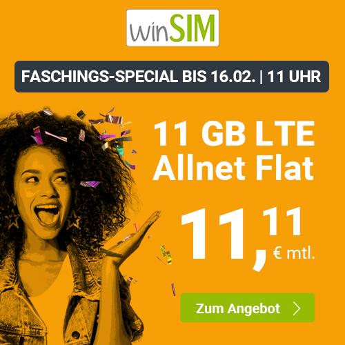 winSIM Faschings-Special mit 11GB LTE Tarif für mtl. 11,11€ + Allnet- & SMS-Flat, VoLTE & WLAN Call (3 Monate / 24 Monate; Telefonica-Netz)