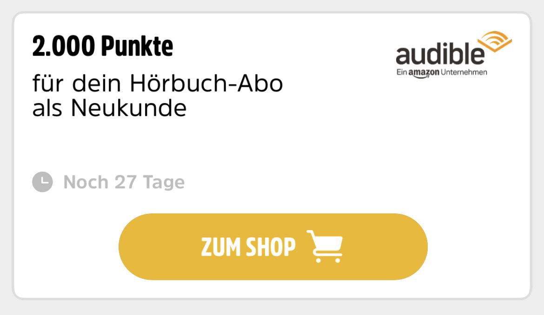 2.000 DeutschlandCard Punkte für ein Audible Abo