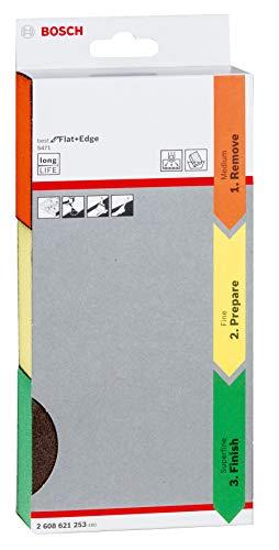 (Prime) Bosch Professional 3tlg. Schleifschwamm S471 Best for Flat and Edge Set (Mittel (Orange) / Fein (Gelb) / Superfein (Grün)