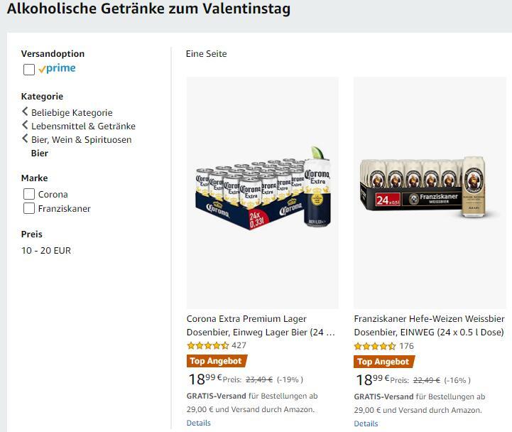 Dosenbier bei Amazon im Angebot: Corona 24x0,33l / Franziskaner Weissbier 24x0,5l / Beck's Green Lemon 24x0,5l für 18,99€