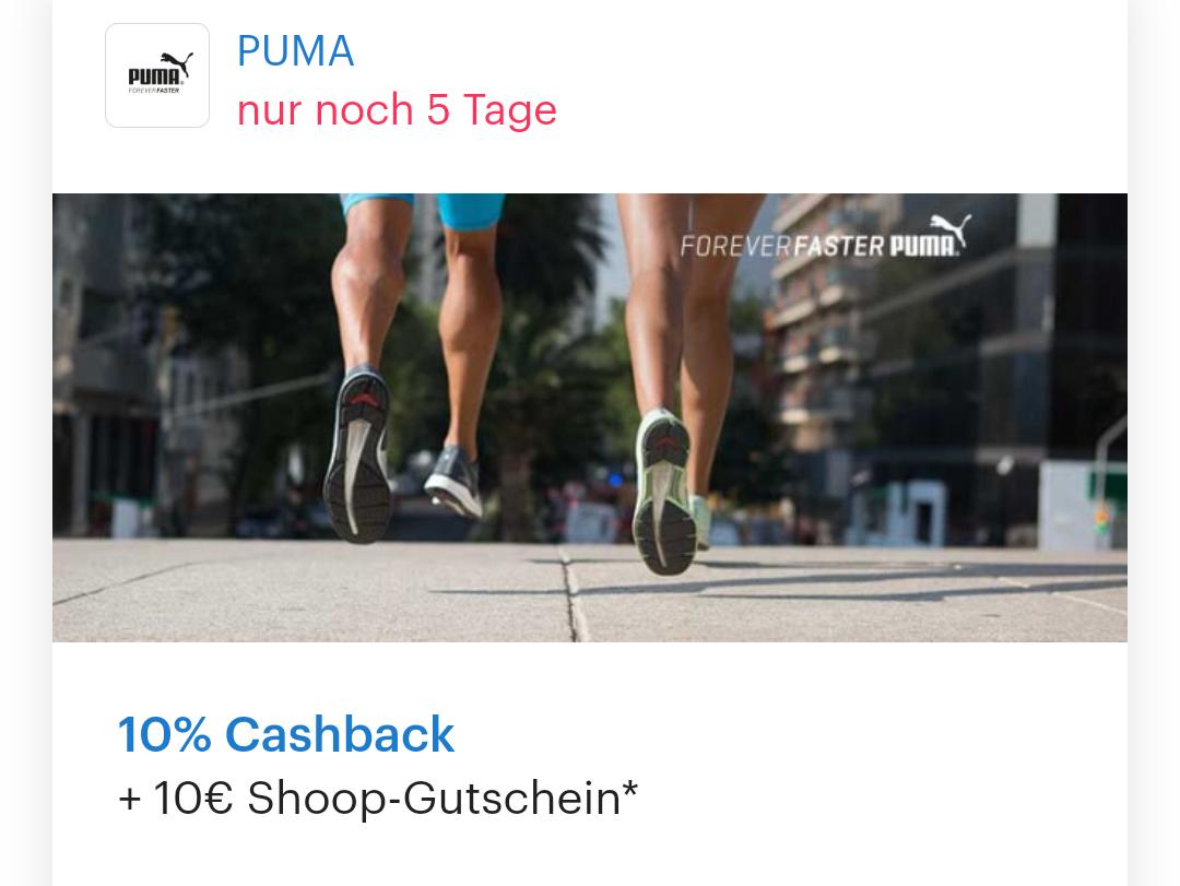 [ Shoop   Puma ] 10% Cashback + 10€ Shoop-Gutschein ab 99€