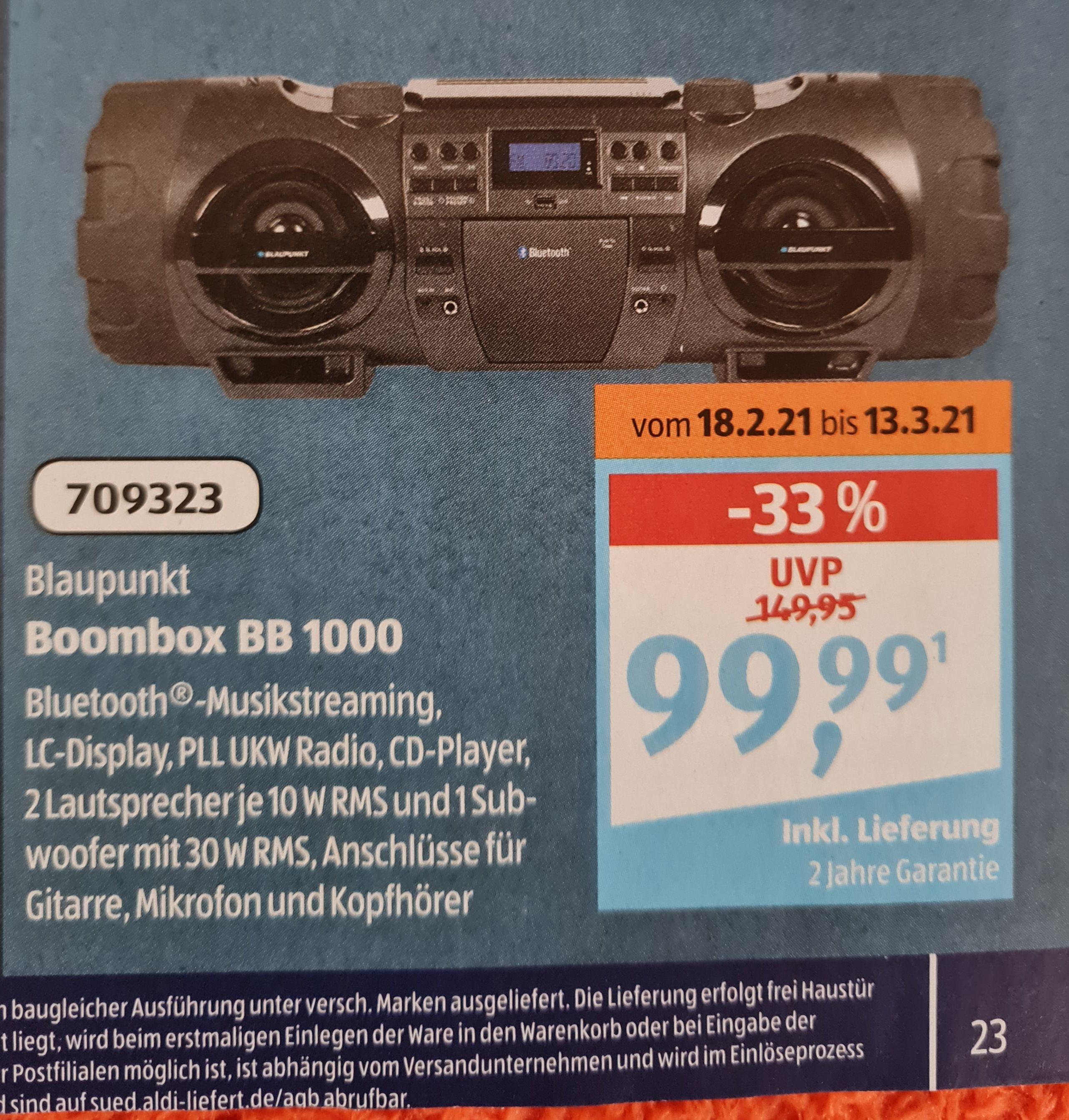 Blaupunkt Boombox BB 1000 Aldi Süd ab Donnerstag 18.02