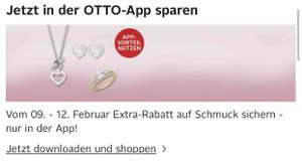 20% Rabatt auf Schmuck bei OTTO nur in der App