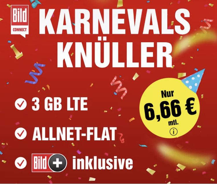 6,66 € statt 8,99 Euro für Flat +3 GB + Bild Plus im Wert von 7,99 €