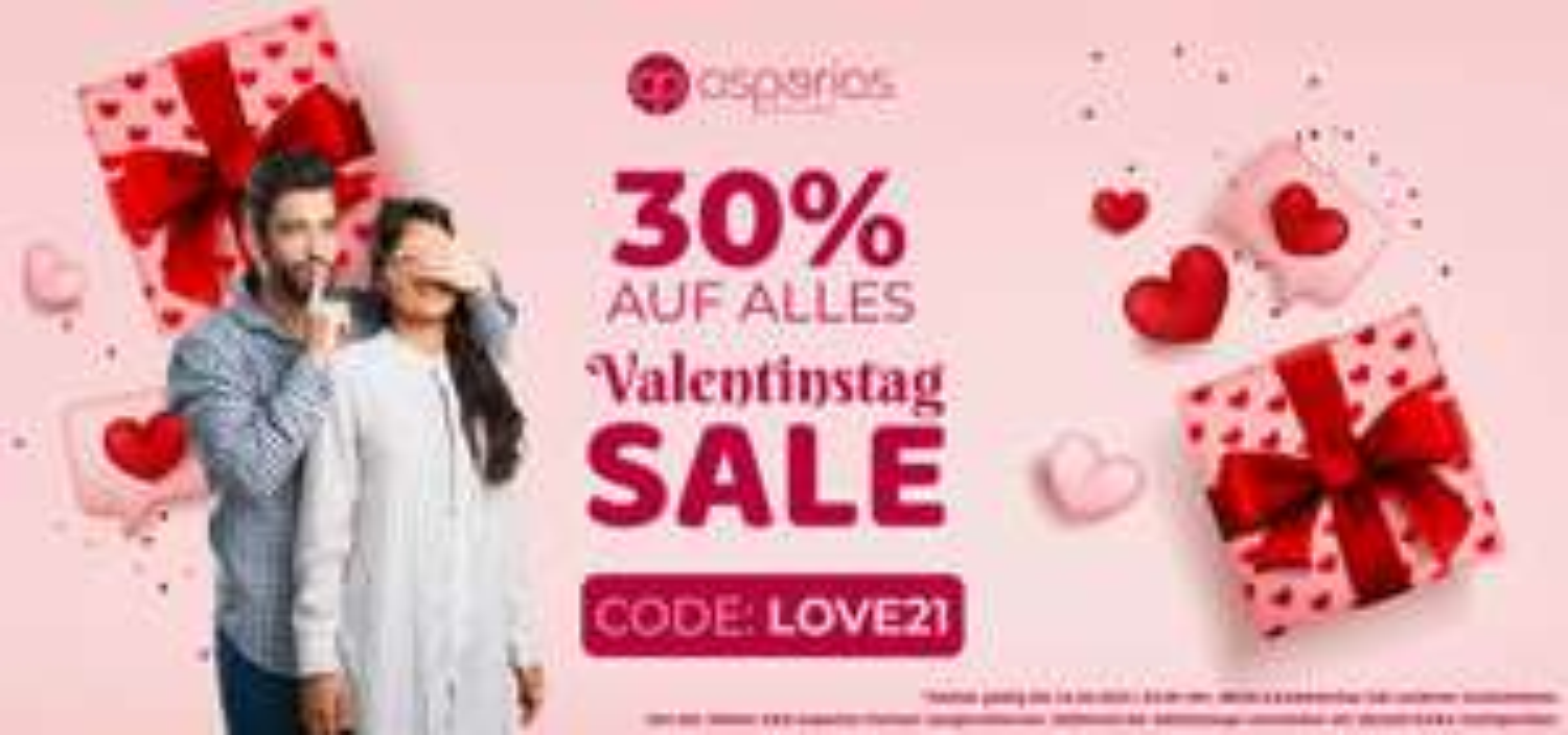 ASPERIAS Valentinstag Sale 30 % auf Alles 08.02.- 14.02.2021