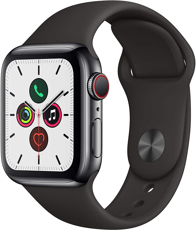 Apple Watch Series 5 (GPS + Cellular) 40mm Edelstahl mit Sportarmband schwarz