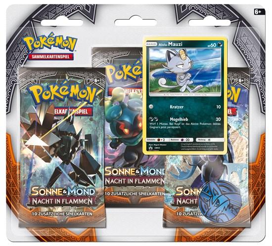 Pokémon Sammelkartenspiel: Sonne & Mond 03 3-Pack Blister Nacht in Flammen