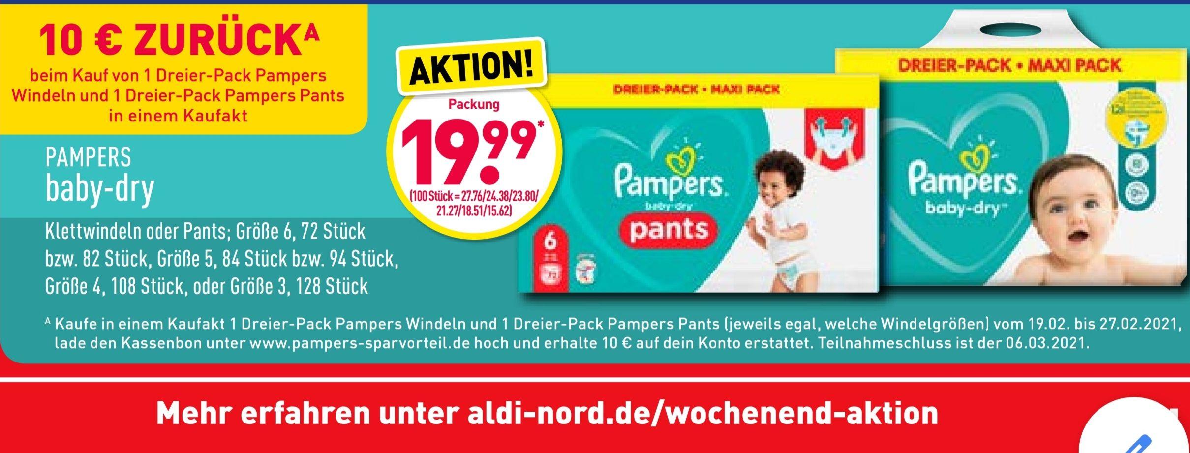 [GzG] Aldi Nord & Süd 10 Euro auf pampers Baby Dry UND pants