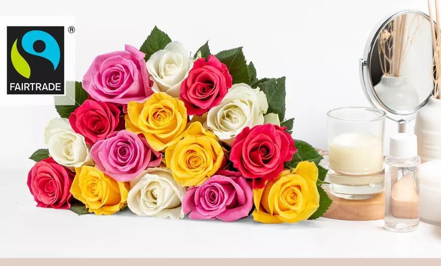 15 Rosen (Fairtrade) in Weiß, Gelb-Orange, Rosa, Bunt oder Gelb von Valentins