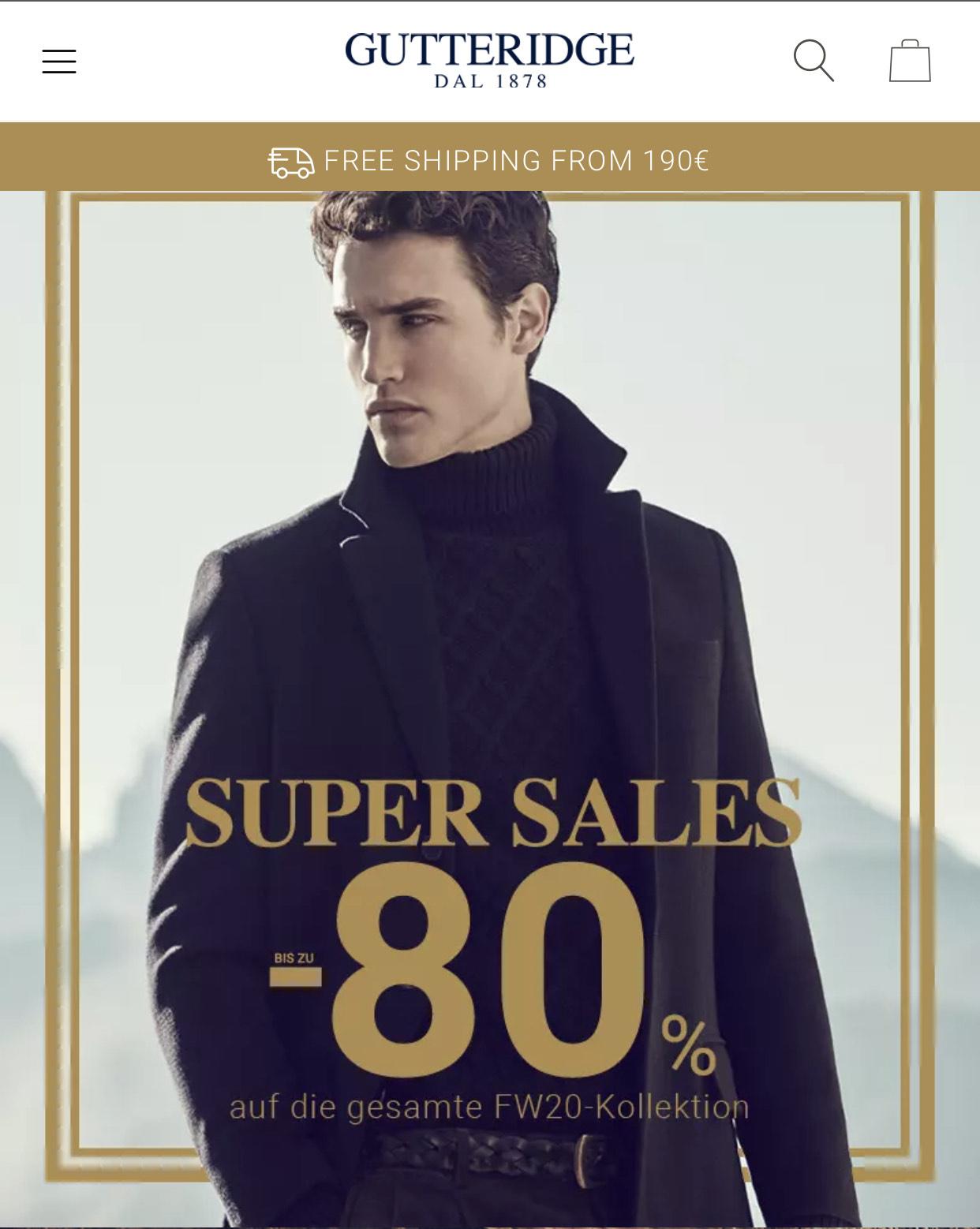 Gutteridge bis zu 80% sale - italienische Marke im britischer Kleidungsstil