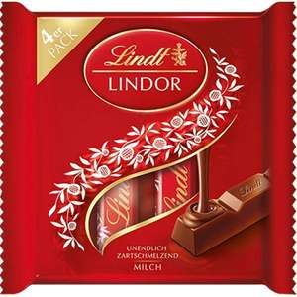 [Prime] Lindt Lindor Vollmilch Sticks, Vollmilch-Schokolade, Schokoladenriegel im Multipack, 3+1 Promotion, 100 g