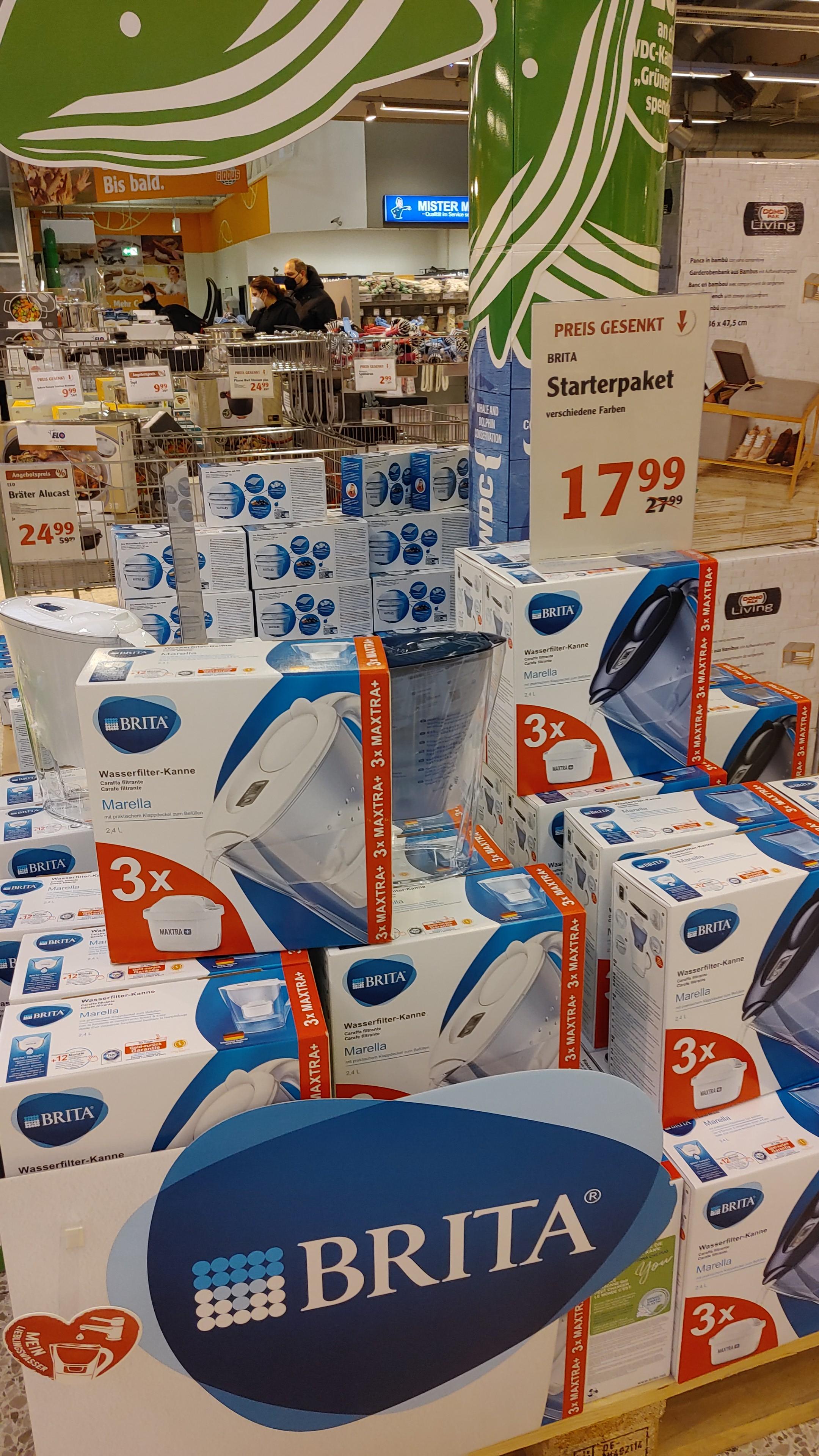 Lokal: Globus Gensingen: Wasserfilter Brita Marella mit 2,4 Liter İnhalt + 3 Kartuschen mit 2, 4 Liter im Angebot für 17,99 Euro.