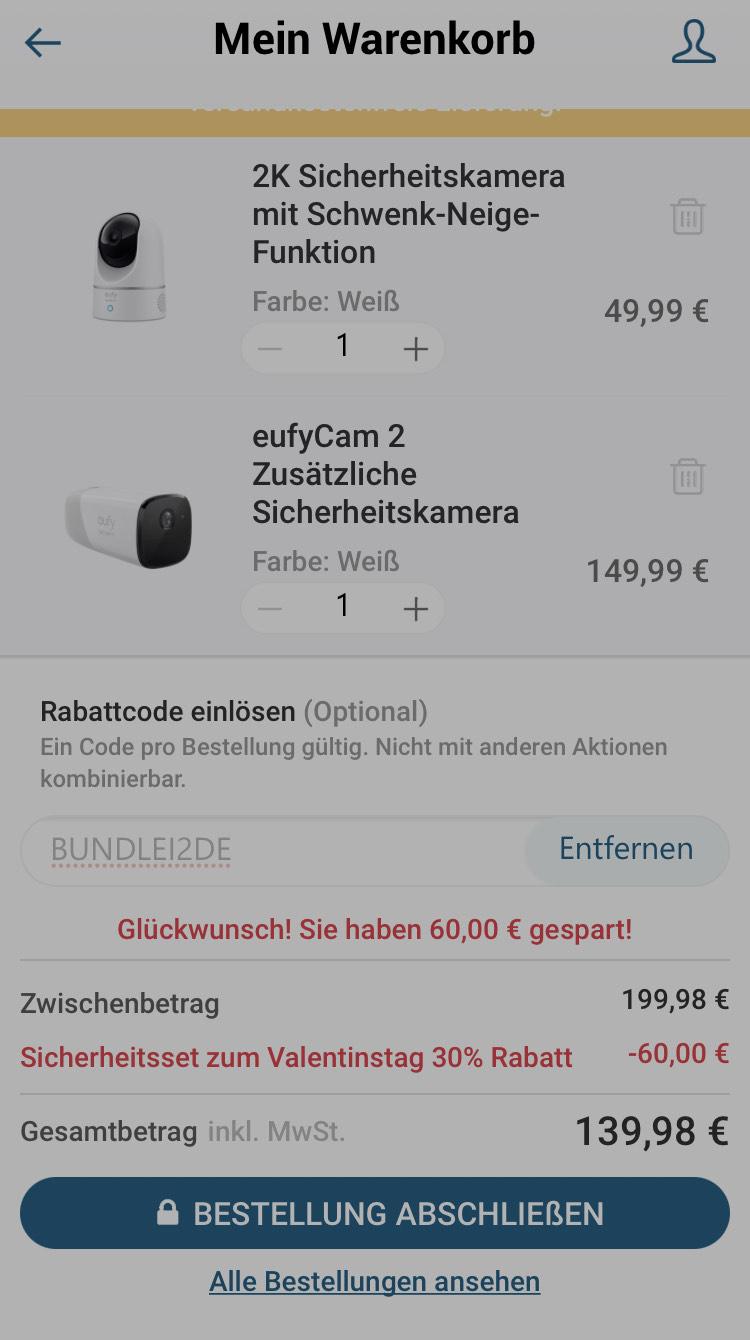 Eufycam 2K Schwenkkamera + Eufycam 2   Valentinstag bei Eufy mit Gutschein