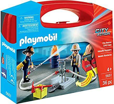 [Amazon Prime] PLAYMOBIL 5651 City Action Mitnehm-Feuerwehrset mit funktionsfähiger Wasserpumpe, 2 Figuren, 33 Zubehörteile