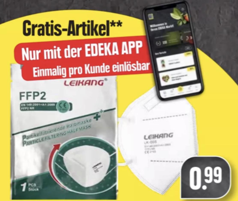 Edeka Südwest: Gratis FFP2 Maske mit Edeka App (ab 5€ Einkauf)