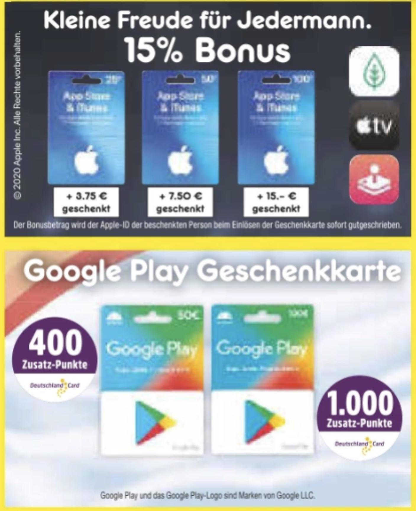 Netto MD: 15% zusätzliches Guthaben auf Apple iTunes u. App Store Guthaben / 400 bzw. 1000 Extra DC-Punkte für 50€/100€ Google Play Karte