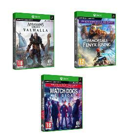 Assassin's Creed Valhalla + Immortals: Fenyx Rising + Watch Dogs: Legion (Xbox X/One) für 93,46€ (Fnac.pt)