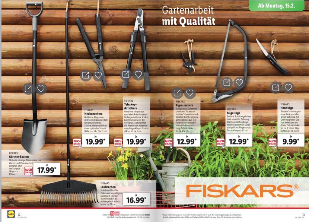 [Lidl/online/offline] Fiskars Sammeldeal ab 15.02.2021 (online teilweise auch ab sofort) bspw. Bypass-Gartenschere P56 für 12,99€