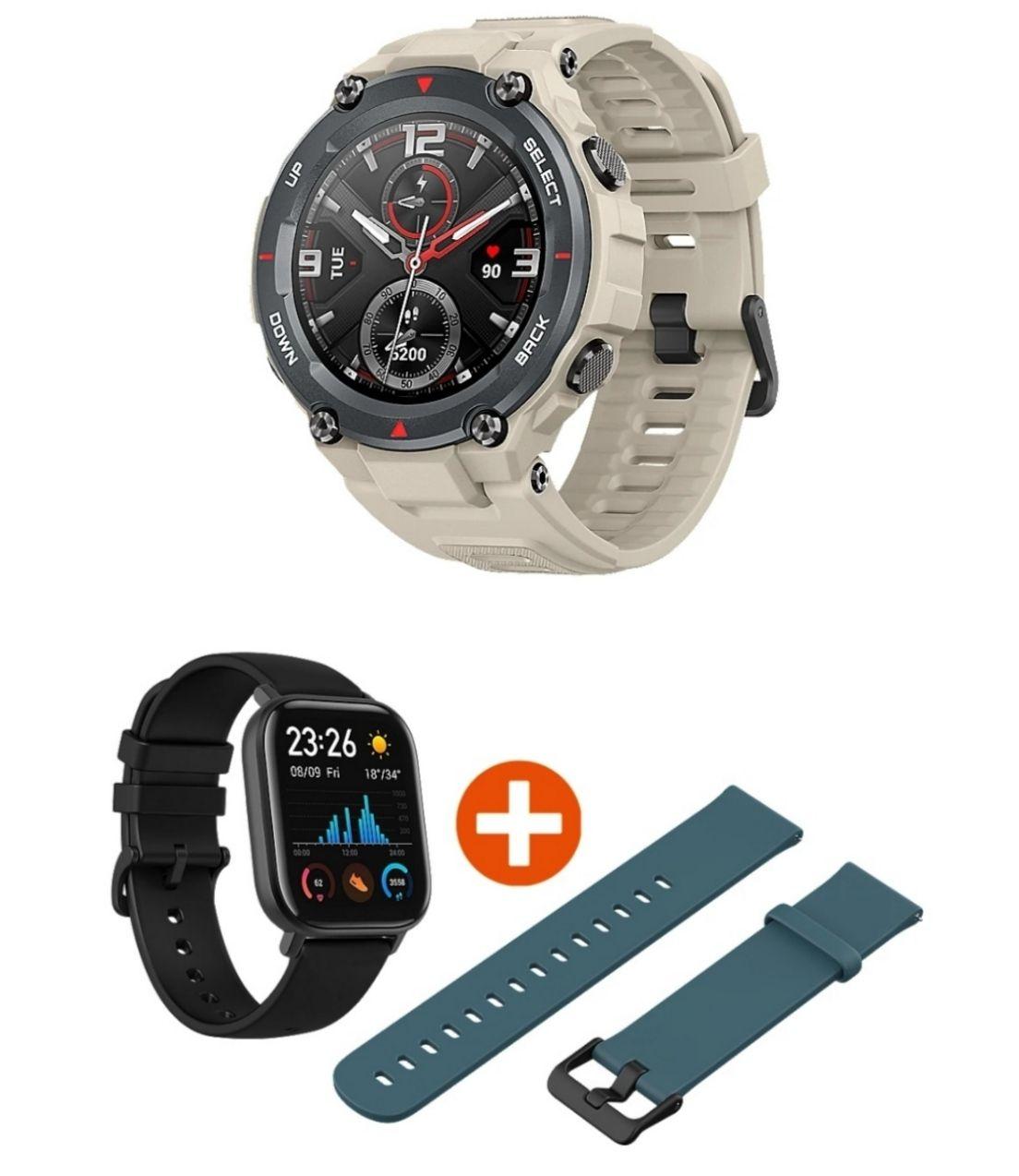 """Amazfit T-Rex Smartwatch (Khaki, 1,3"""" AMOLED 360x360, 20 Tage Akku, GPS, 5 ATM, MIL-STD-810) / Amazfit GTS für 79,89€"""