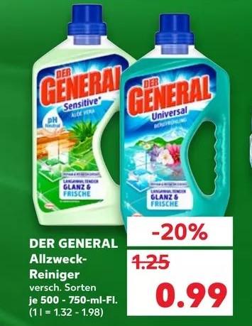 UPDATE:Kaufland Der General nur 0,49€ pro Flasche beim Kauf von 10 Stück