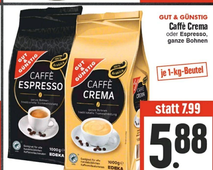 (Regional: Edeka Hessenring) Gut & Günstig Caffè Crema oder Espresso ganze Bohnen 1 KG Beutel