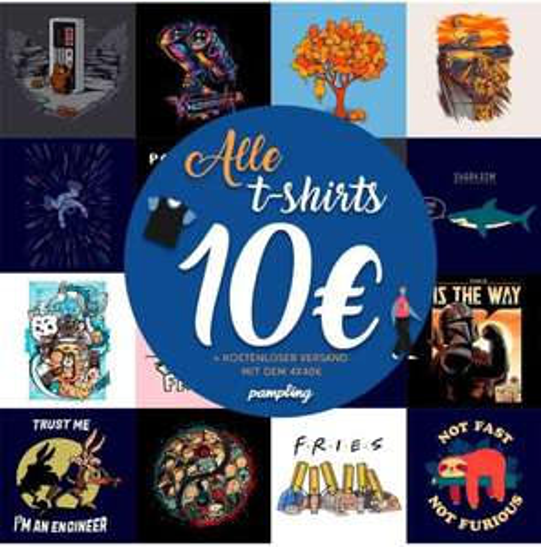 [Pampling] 4 Shirts für 40€ bzw. ab 4 Stück je 10€, Versand gratis