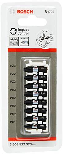 2 Mal Bosch Professional 8tlg. Schrauber Bit Set Kreuzschlitz (Impact Control, PH/PZ Bits, Länge 25 mm, Pick and Click) Prime