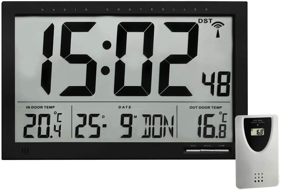 TFA Dostmann 60.4510 - Digitale XL-Funkuhr, mit Außen-und Innentemperatur, Wanduhr, schwarz