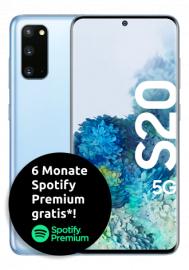 Samsung Galaxy S20 5G 128GB blau / grau im Telekom Congstar Allnet Flat M für 20€ monatlich und 219€ einmalig