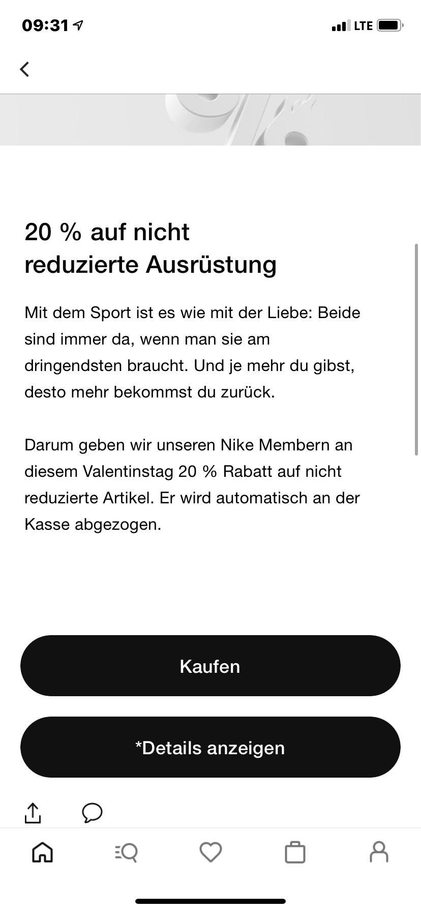Nike 20% Rabatt auf nicht reduzierte Artikel