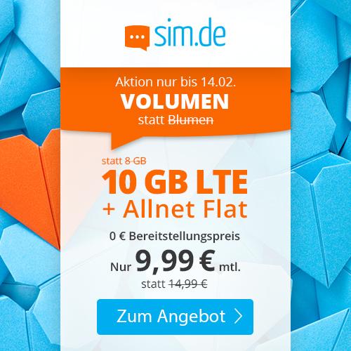 10GB LTE sim.de Tarif für mtl. 9,99€ mit Allnet- & SMS-Flat + VoLTE & WLAN Call (3 Monate / 24 Monate; Telefonica-Netz)