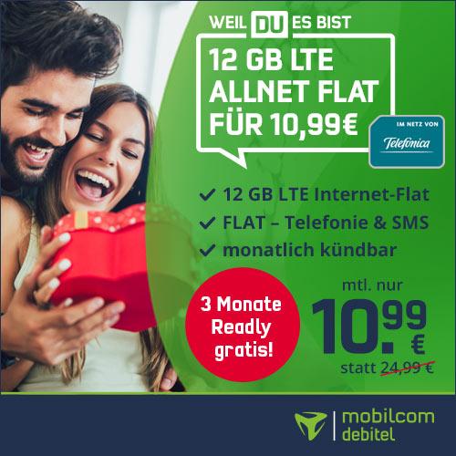 [mtl. kündbar] 12GB LTE mobilcom-debitel Telefonica Tarif für mtl. 10,99€ + Allnet- & SMS-Flat, VoLTE, WLAN Call