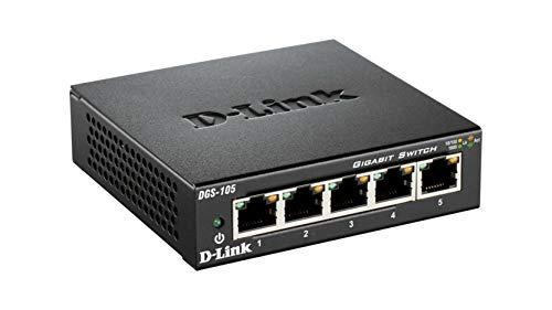[Amazon Prime] D-Link DGS-105 5-Port Layer2 Gigabit Switch (bis zu 2000 Mbit/s Datenübertragung pro Port, lüfterlos, Metallgehäuse) schwarz