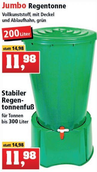 Jumbo Regentonne mit Deckel und Ablaufhahn und Regentonnenfuß für jeweils 11,98 Euro / Gießkanne für 2,22 Euro [Thomas Philipps *]