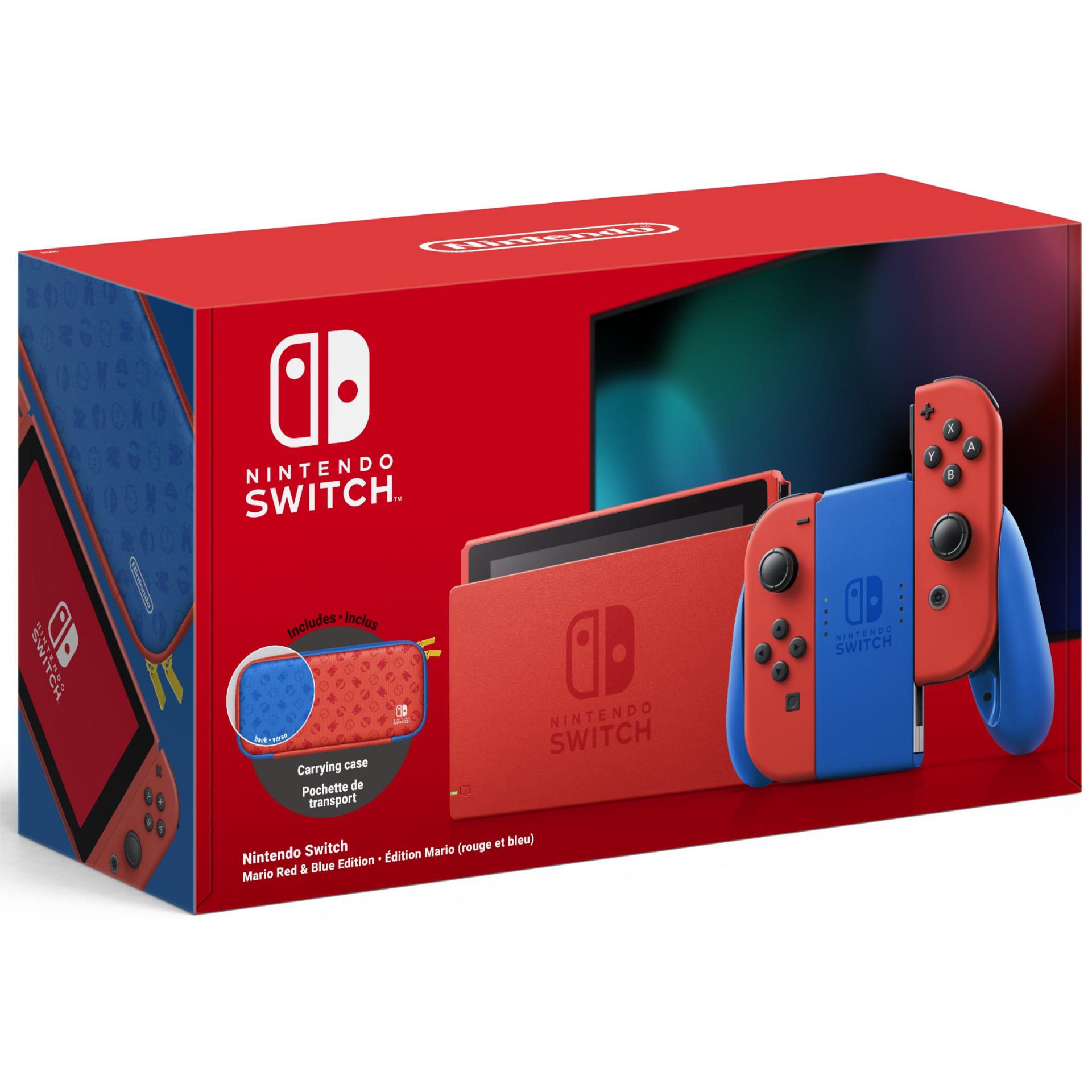 Nintendo Switch: Mario Red & Blue Edition (inkl. Tragetasche, 32GB Speicher, HD Display, Nvidia Tegra X1, 4310mAh Akku, 398 Gramm)