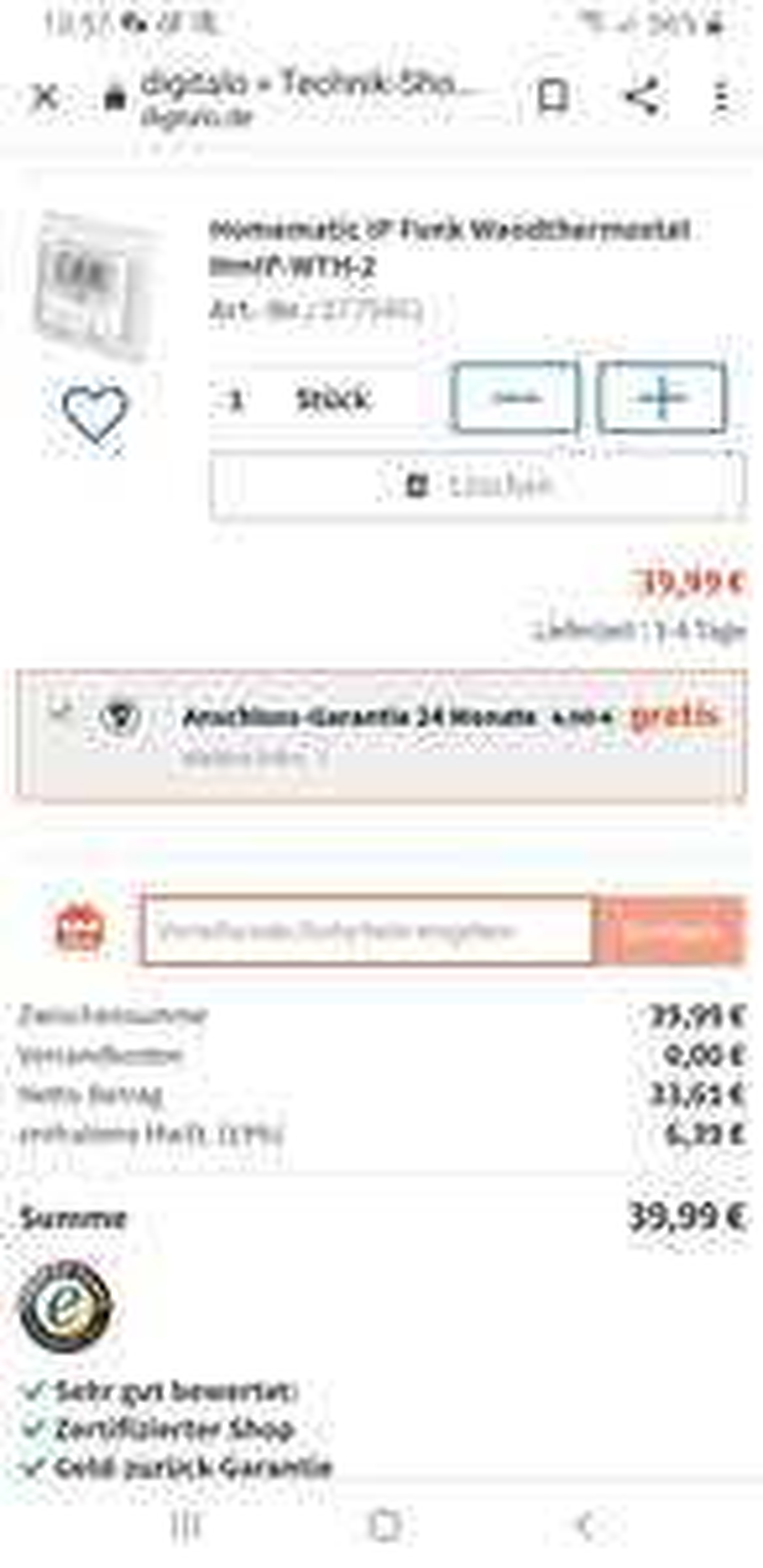 Homematic IP Funk Wandthermostat Hmip-Wth-2, Shoop 1% Rabatt, Cashback (Sofortüberweisung)